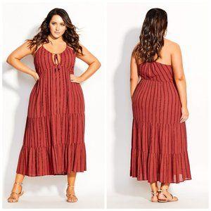 City Chic Caribbean Maxi Dress – Rust Stripe